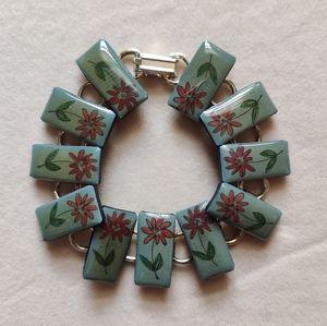 Vintage flower panel bracelet